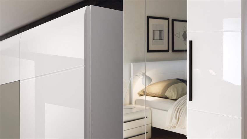 Schlafzimmer-Set HARMONYS in Weiß Hochglanz 4-Teilig