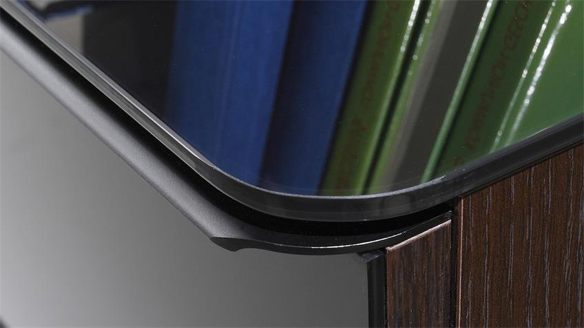 Kommode TOGOS WM Glas schwarz und Wenge inkl. LED, 101 cm