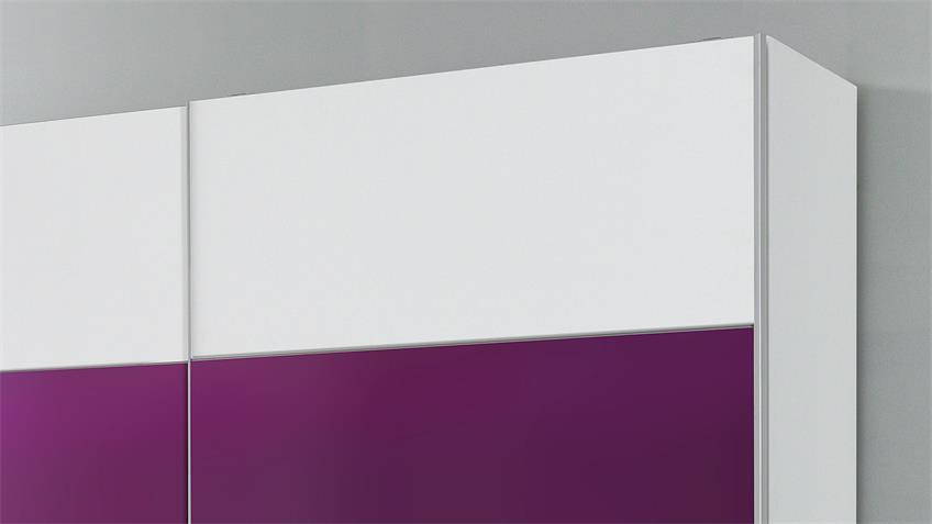 Schwebetürenschrank BERLIN weiß lila 220 cm