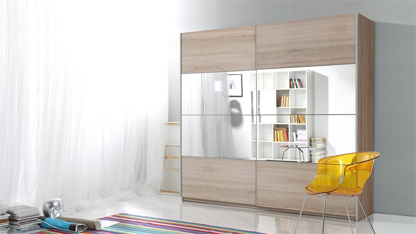 Schwebetürenschrank BERLIN Sonoma hell Spiegel 220 cm