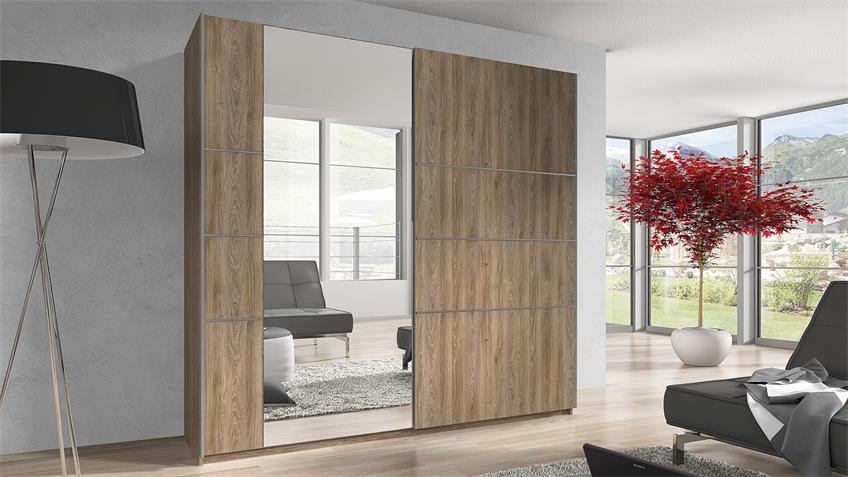 Schwebetürenschrank BERLIN madeira Spiegel 220 cm