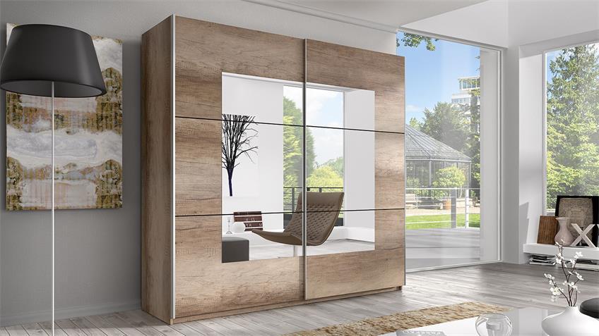 Schwebetürenschrank BERLIN country grey Spiegel 220 cm