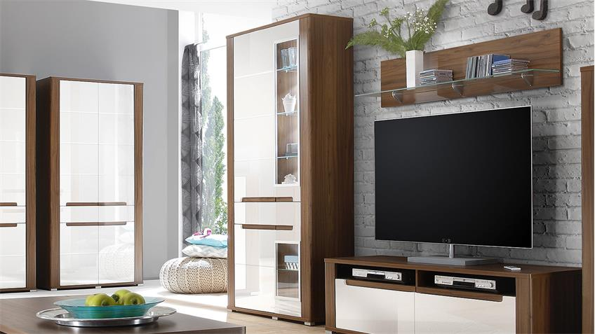 vitrine neapoli 4 t rig canyon walnuss wei hochglanz led. Black Bedroom Furniture Sets. Home Design Ideas