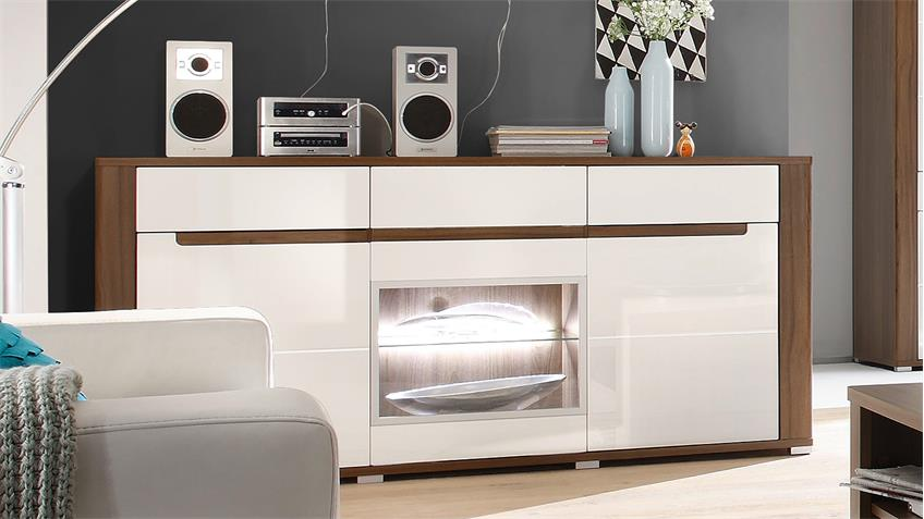 sideboard neapoli 3 t rig canyon walnuss wei hochglanz led. Black Bedroom Furniture Sets. Home Design Ideas
