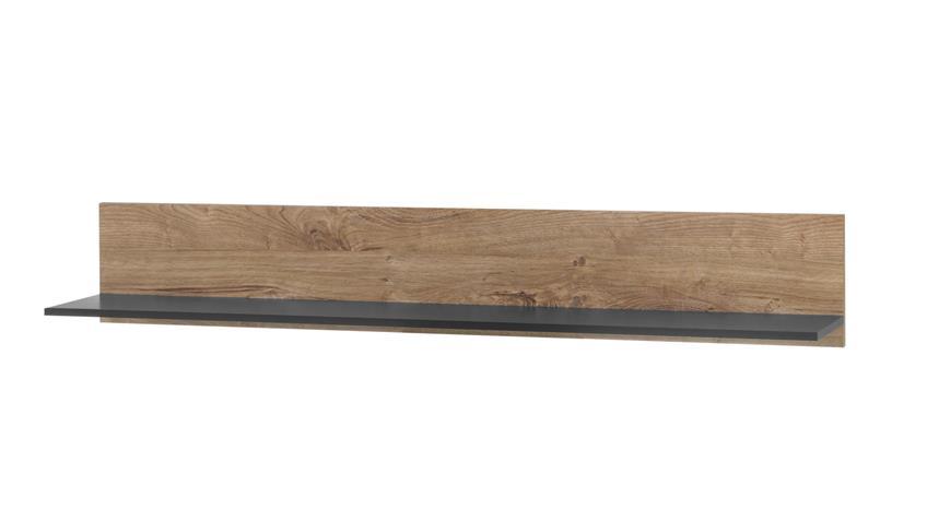 Wandboard WIDIN Wandregal Hängeregal Hängeboard Eiche schwarz 150 cm