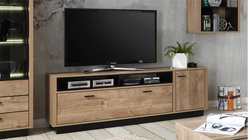 TV-Board WIDIN Lowboard TV-Schrank HiFi Unterschrank Eiche und schwarz