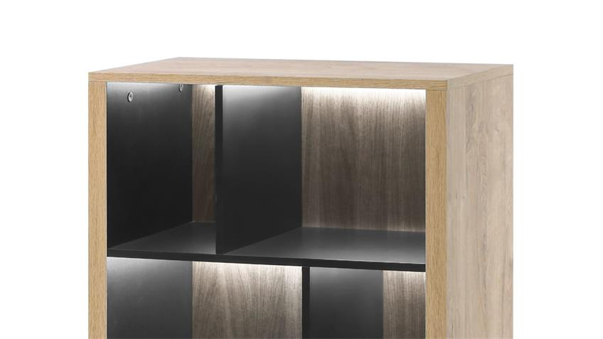 Standregal WIDIN Regal Kommode Schrank Stauraumelement Eiche schwarz