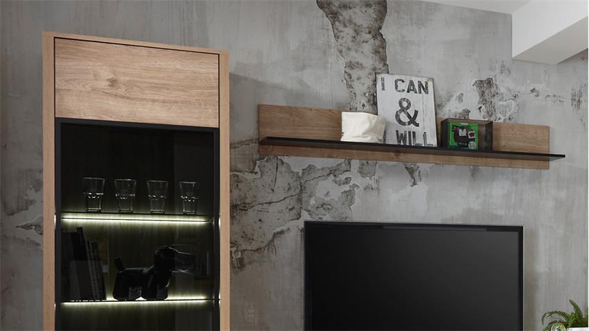 Wohnwand WIDIN Anbauwand Wohnzimmer Schrankwand Eiche schwarz 4-teilig