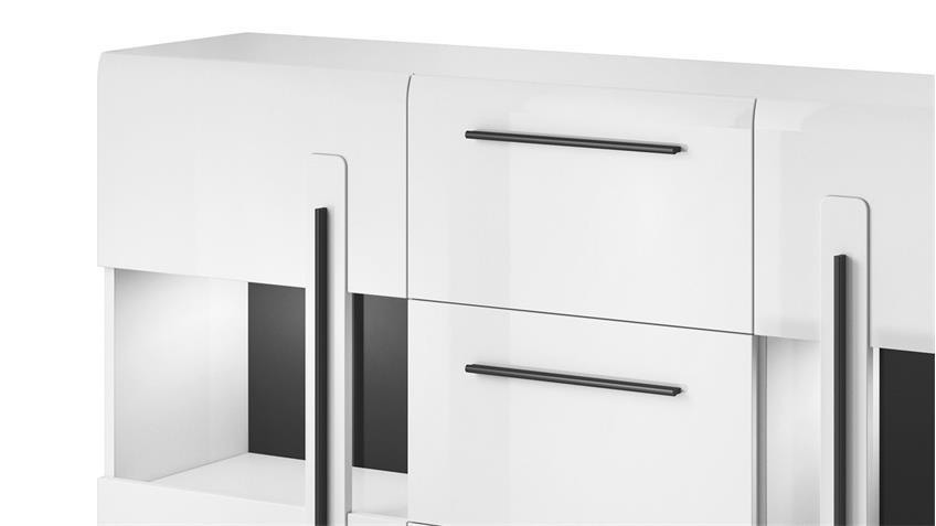 Sidebaord TULSA Kommode 2 Glastüren 180 cm weiß Hochglanz Dekor
