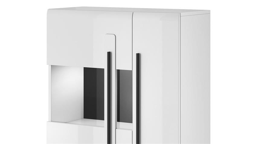 Highbaord TULSA Hochkommode 2-trg mit Glas weiß Hochglanz Dekor