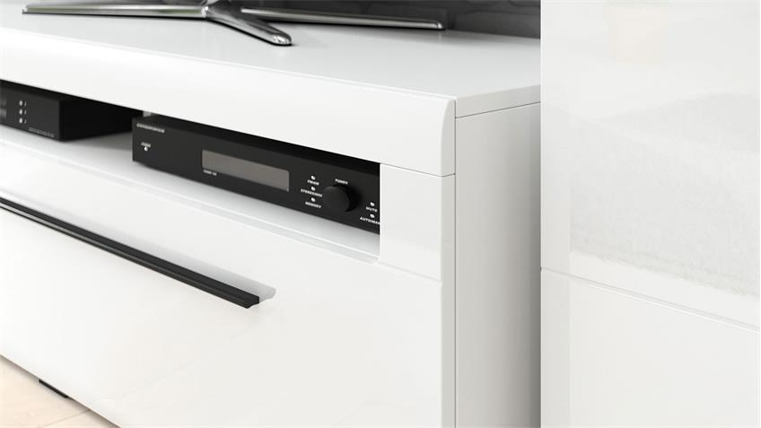 TV-Lowboard TULSA mit Schubkasten 160cm weiß Hochglanz Dekor