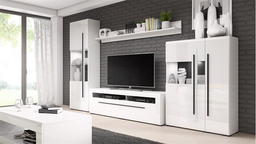 Wohnwand TULSA Anbauwand Wohnzimmer in Weiß Hochglanz 4-teilig