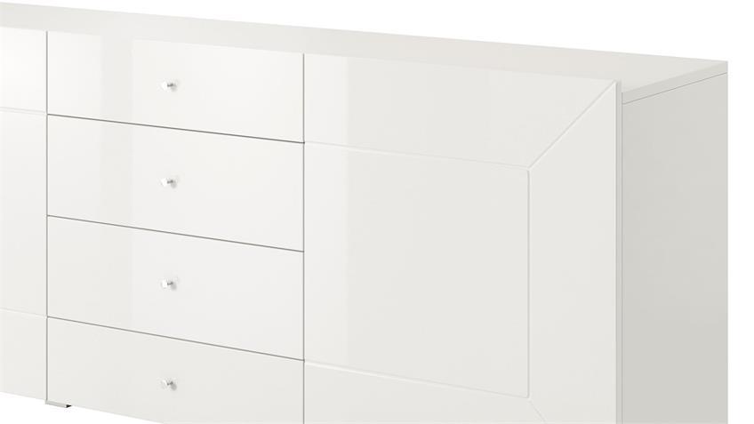 Sidebaord BIALA Kommode 2-türig 170 cm weiß Hochglanz Dekor