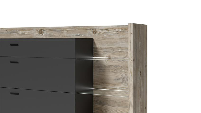 Sideboard TALINA Kommode in Oslo Pinie Anthrazit mit Glas