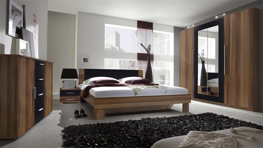 Kleiderschrank CAROLIN Walnuss schwarz 4-türig mit Spiegel