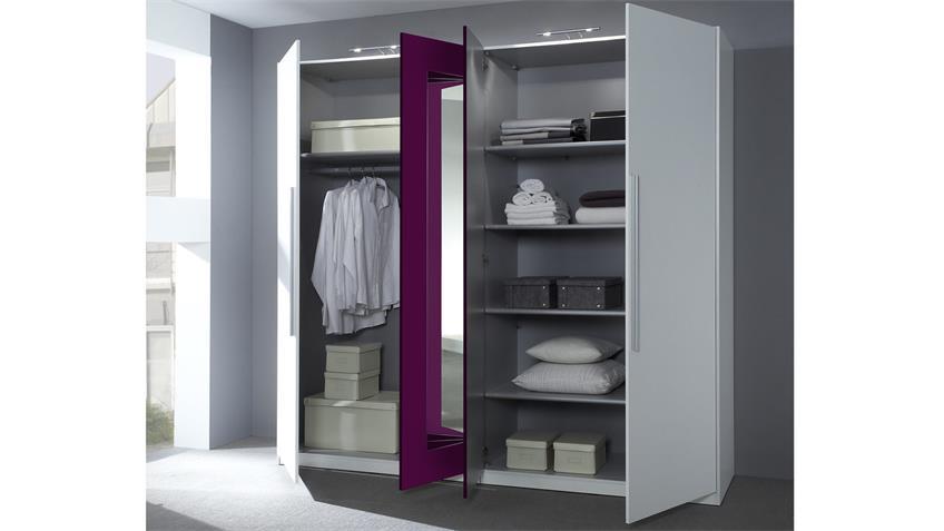 Kleiderschrank CAROLIN weiß lila 4-türig mit Spiegel
