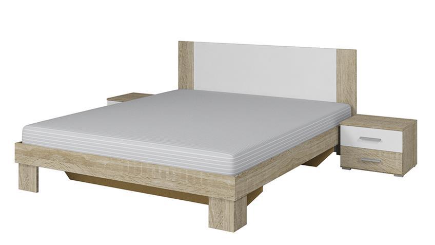 Bettanlage CAROLIN weiß Sonoma Eiche 180x200 cm