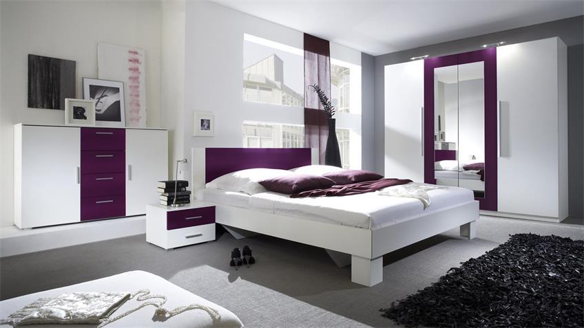 Schlafzimmerset CAROLIN weiß und lila 180x200 cm