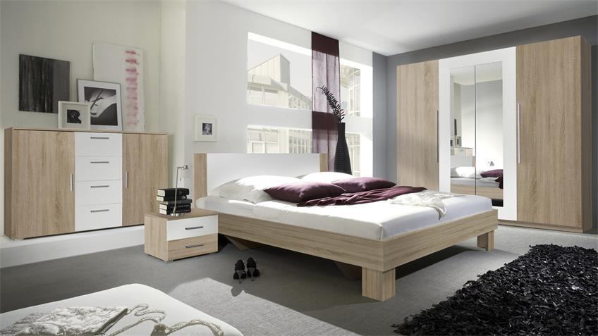 Schlafzimmerset CAROLIN Sonoma Eiche weiß 180x200 cm