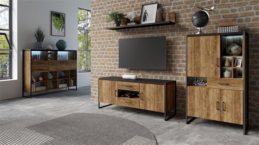 Lowboard TARABO TV-Board in Fichte und schwarz 154 cm