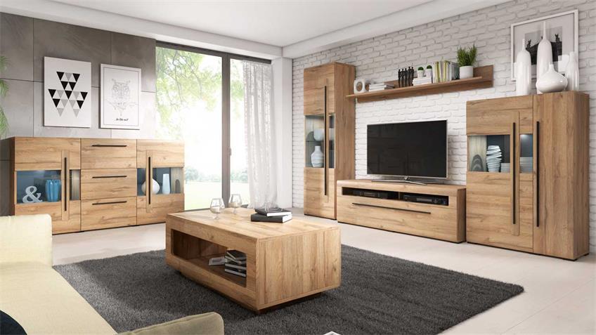 Wohnzimmer Set TULSA Komplettset 6-tlg Grandson Eiche
