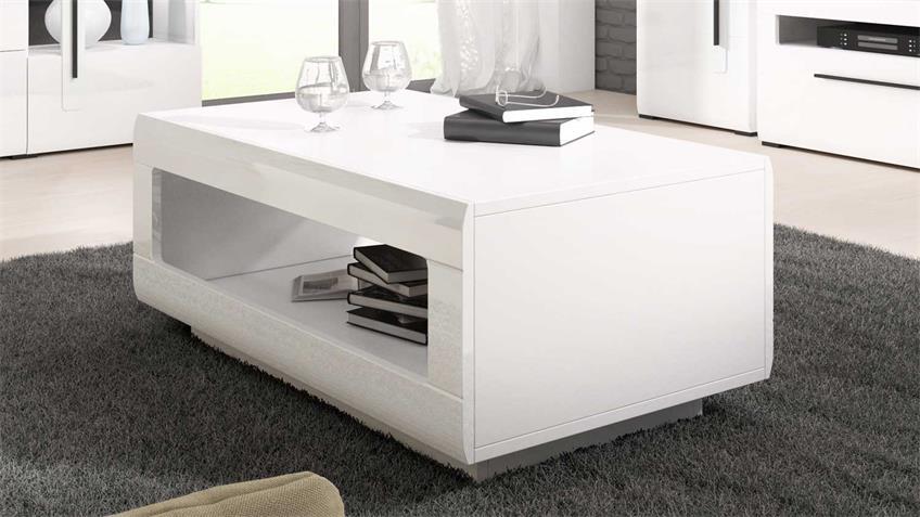 Wohnzimmer Set TULSA Komplettset 6-tlg weiß Hochglanz
