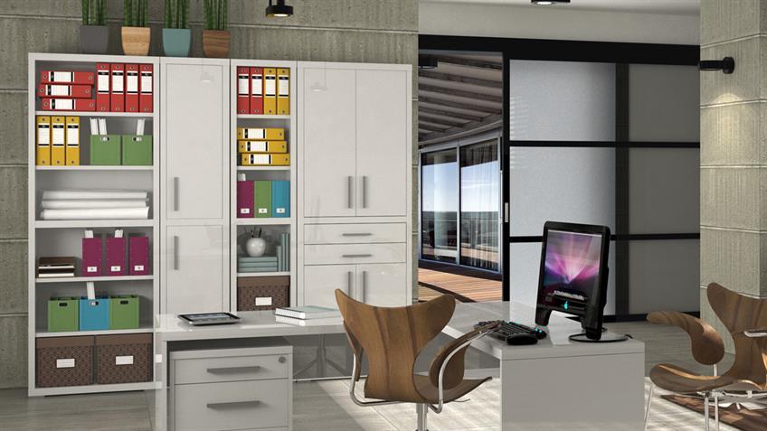 Regal STAMPA Büro Bücherregal in weiß hochglanz