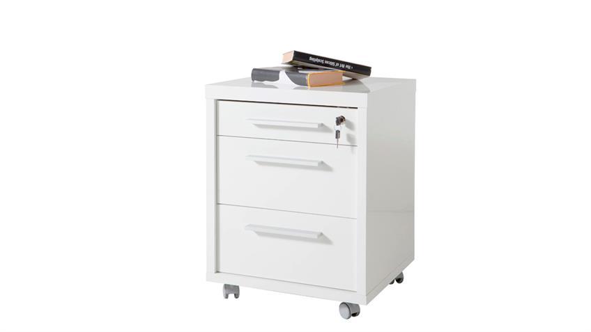 Rollcontainer KRONOS Büro Container in Weiß Hochglanz lackiert