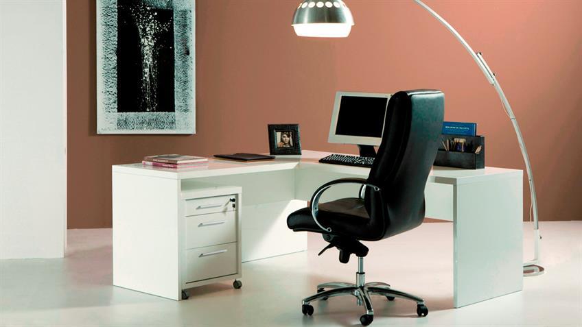 Winkelschreibtisch KRONOS Bürotisch in weiß hochglanz lackiert