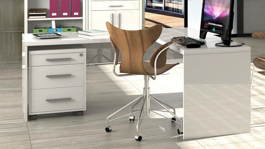 Büro STAMPA Schreibtisch KRONOS in weiß hochglanz lackiert