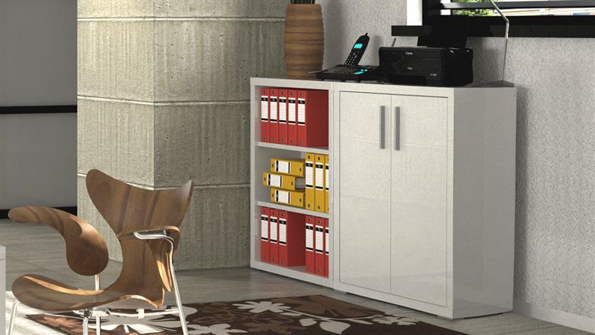 Regalset STAMPA Büro Regal in weiß Hochglanz lackiert