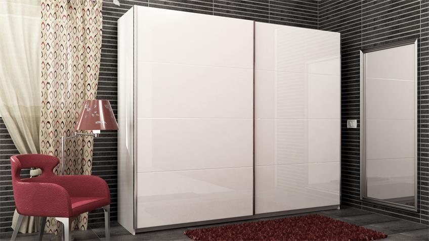 Schwebetürenschrank NICOLE weiß hochglanz lackiert 240 cm