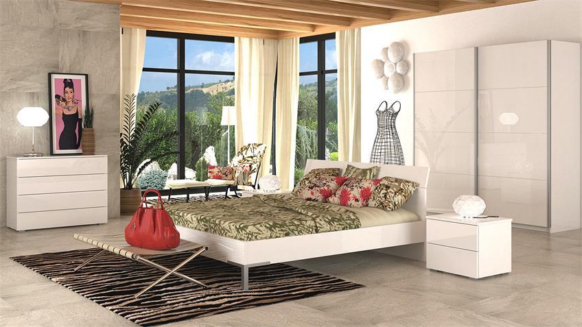 Bett PRIVILEGIO in weiß hochglanz lackiert 180 x 200 cm