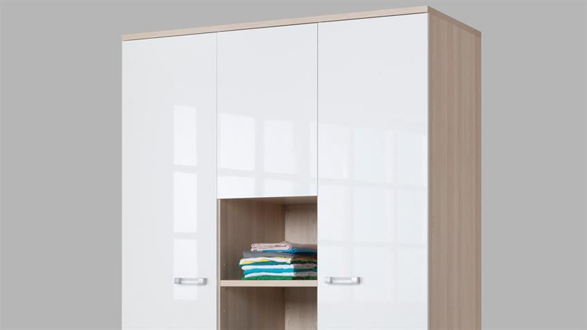 Kleiderschrank Calisma in Esche und Weißer Lack mit Ablage