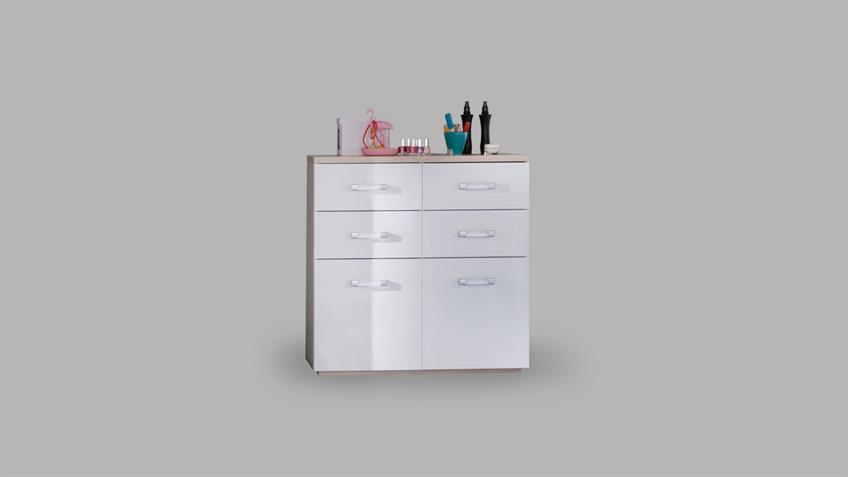 Kommode CALISMA weiß hochglanz lackiert Coimbra Esche
