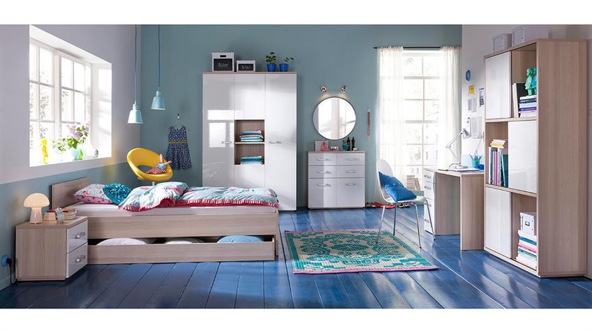 Jugendzimmer 2 CALISMA weiß hochglanz lackiert Esche