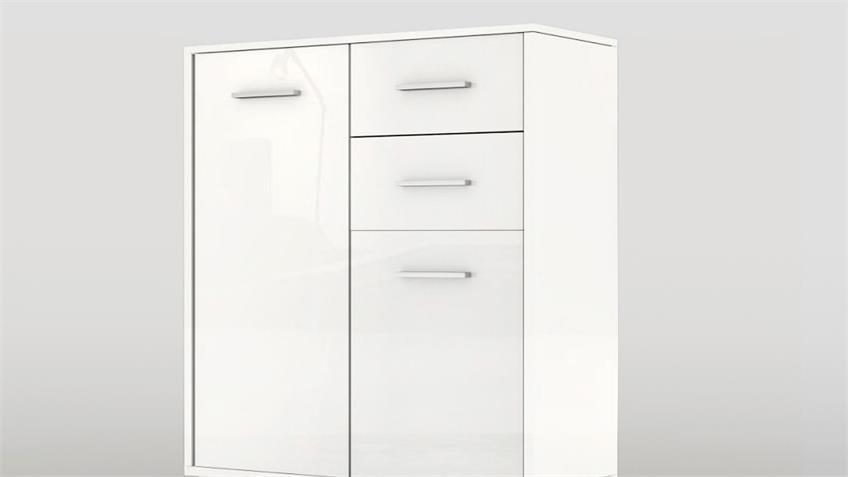 Kommode 1 COSMO Sideboard in weiß hochglanz lackiert