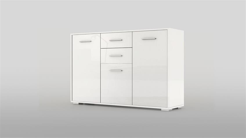 Kommode 2 COSMO Sideboard in weiß hochglanz lackiert