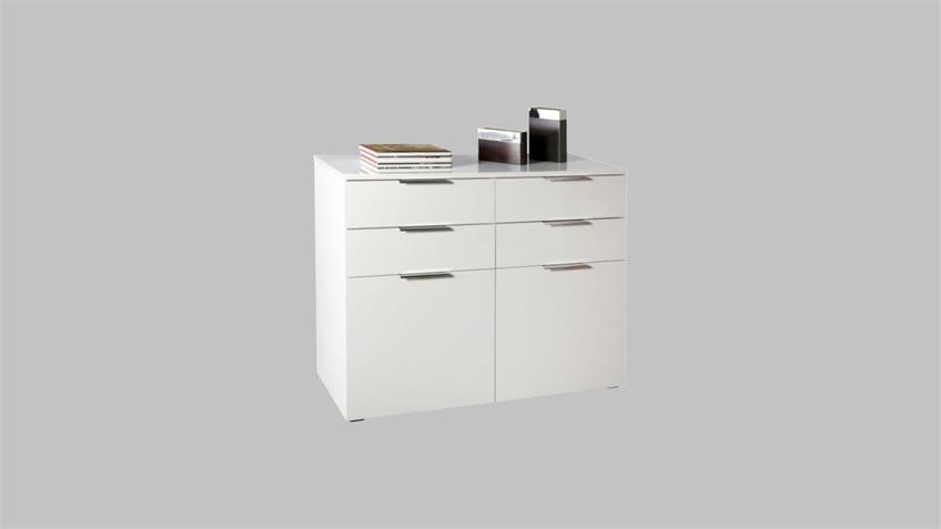 Kommode 2 BOLERO Sideboard in weiß hochglanz lackiert