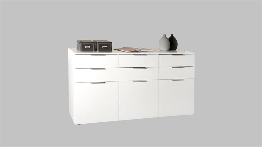 Sideboard BOLERO Kommode in weiß hochglanz lackiert