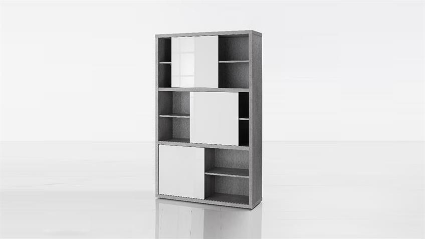 Regal PRATICO Schrank beton Struktur weiß hochglanz Lack