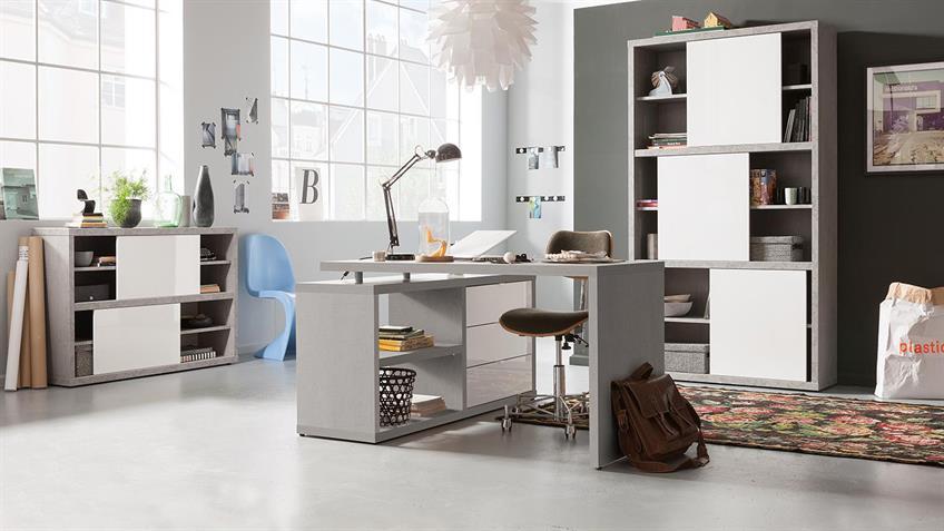 schreibtisch pratico in beton wei hochglanz lack. Black Bedroom Furniture Sets. Home Design Ideas
