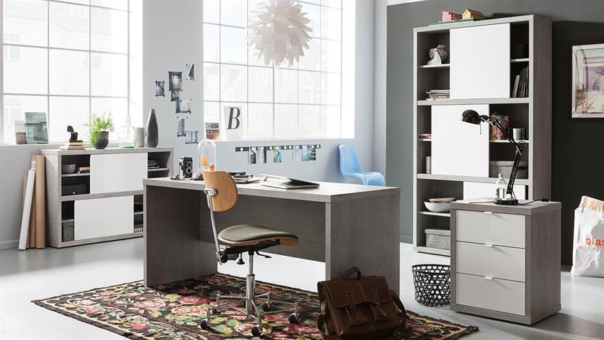 Büroset 1 PRATICO Büromöbel in beton weiß Hochglanz Lack
