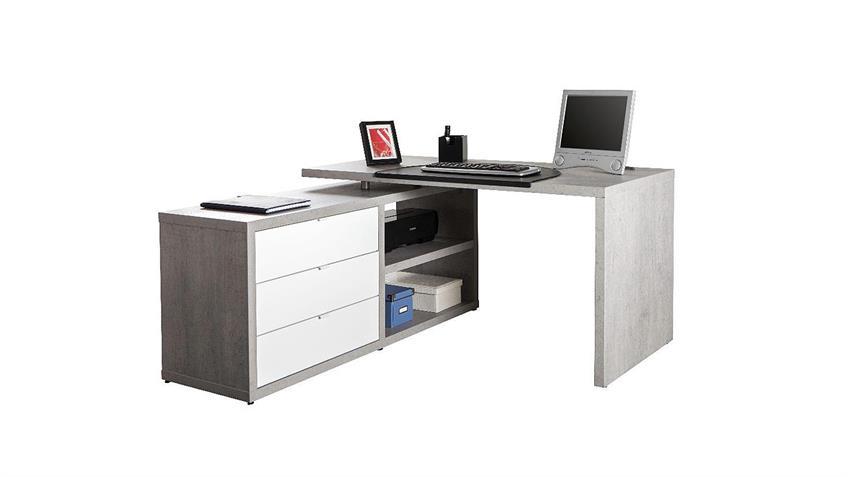 Büroset 2 PRATICO Büromöbel in beton weiß Hochglanz Lack