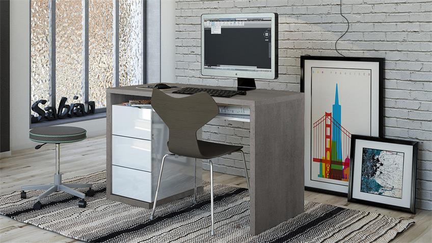 Schreibtisch MONETA in beton und weiß hochglanz lackiert