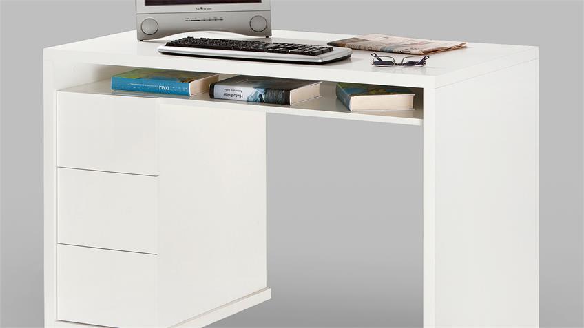 Schreibtisch MONETA Bürotisch in weiß hochglanz lackiert