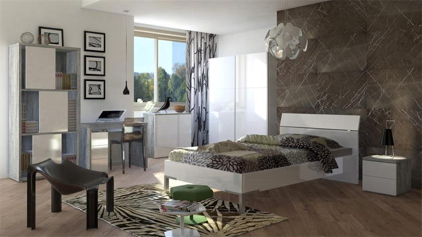 Jugendzimmerset PRIVILEGIO in weiß Hochglanz Lack beton