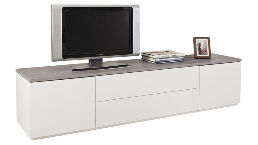 Lowboard PRIVILEGIO Beton Optik Hochglanz weiß 200 cm