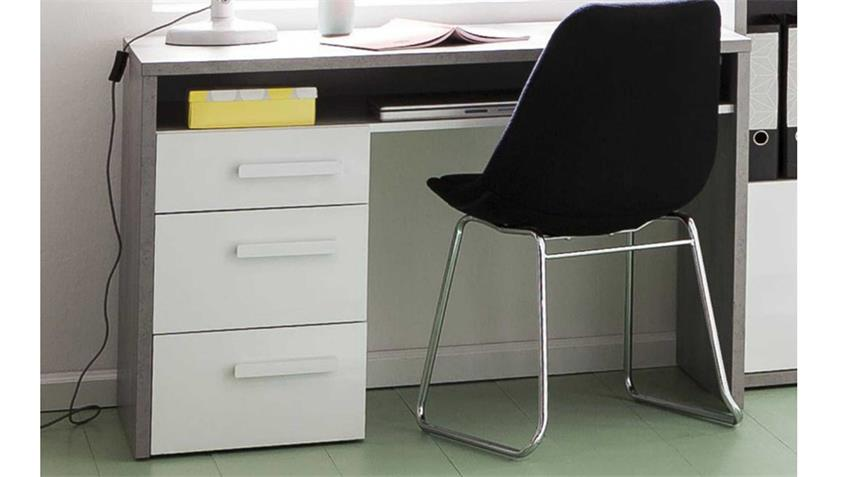 Schreibtisch Mipiace Beton Look Hochglanz weiß