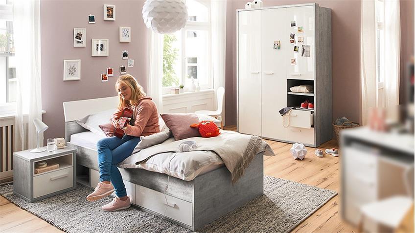 Jugendzimmer-Set Mipiace 3-teilig Beton Look Hochglanz weiß